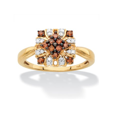 1/3 TCW Red and White Diamond Vintage-Inspired Cocktail Ring in 14k Yellow Gold and Chocolate over Sterling Silver