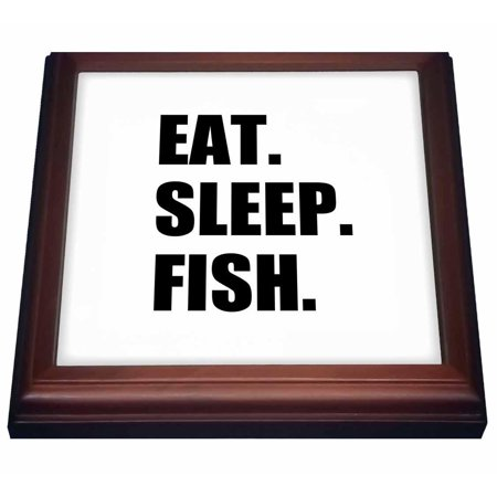 3dRose Eat Sleep Fish - fun text gifts for fishing enthusiasts and fishermen, Trivet with Ceramic Tile, 8 by 8-inch