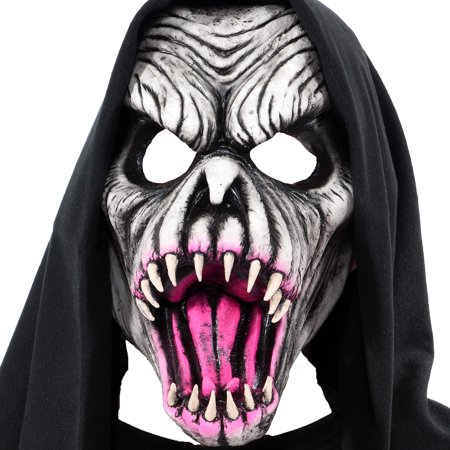 Zagone Studios LLC UV Hooded Fang Face Mask, Halloween Costume Accessory for Adults, One Size