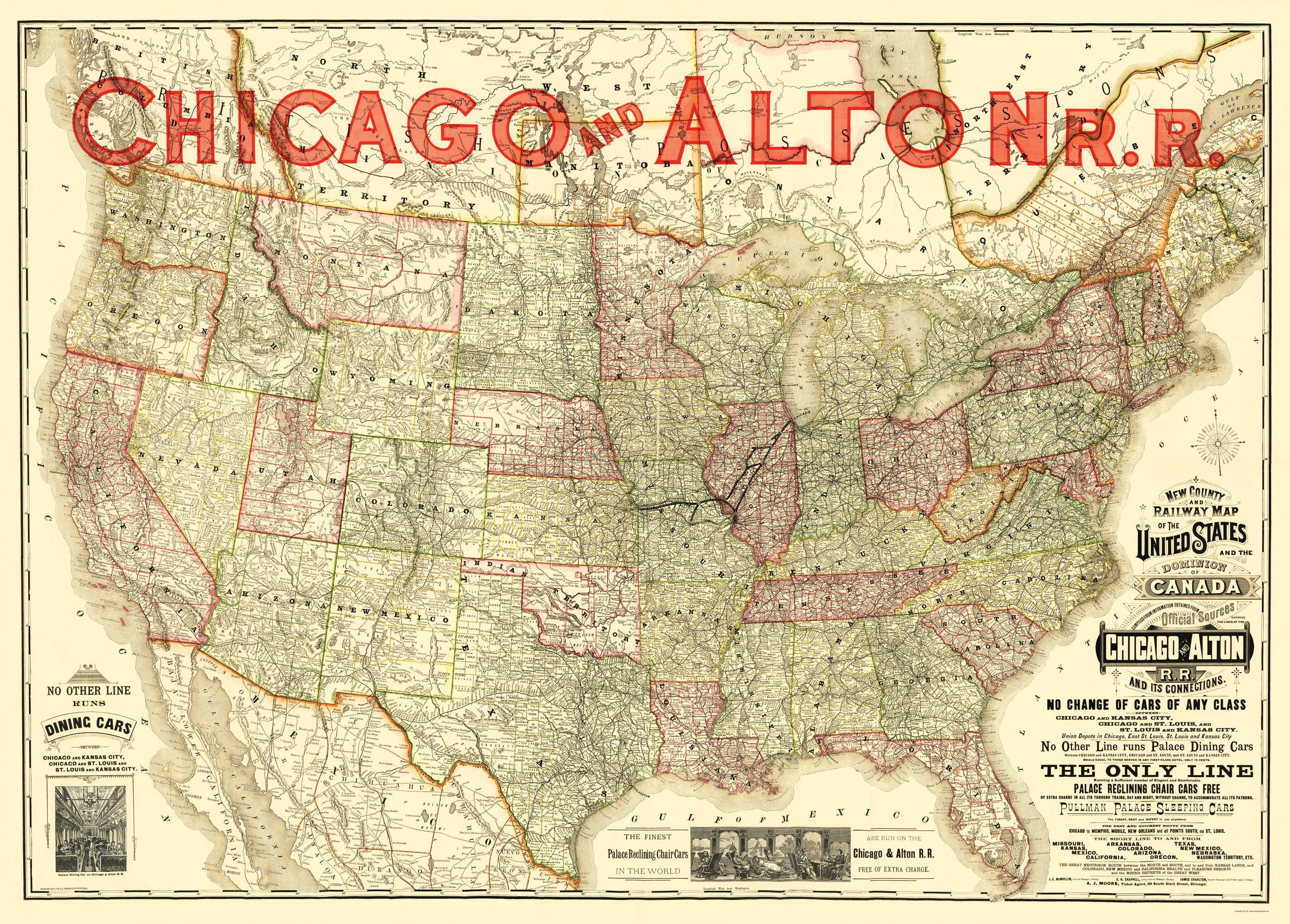 Alton Kansas Map.Old Railroad Map Chicago And Alton Railroad Rand Mcnally 1883