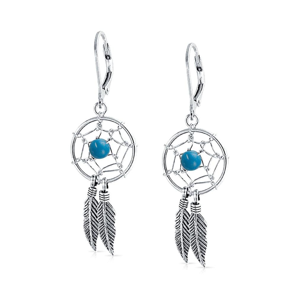 Native American Dreamcatcher .925 Sterling Silver Turquoise Dangle Hook Earrings