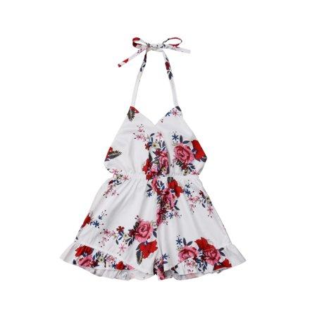 Children'Rompers Girl Hanging Neck Backless V-neck Flowers Printed Chiffon Jumpsuit