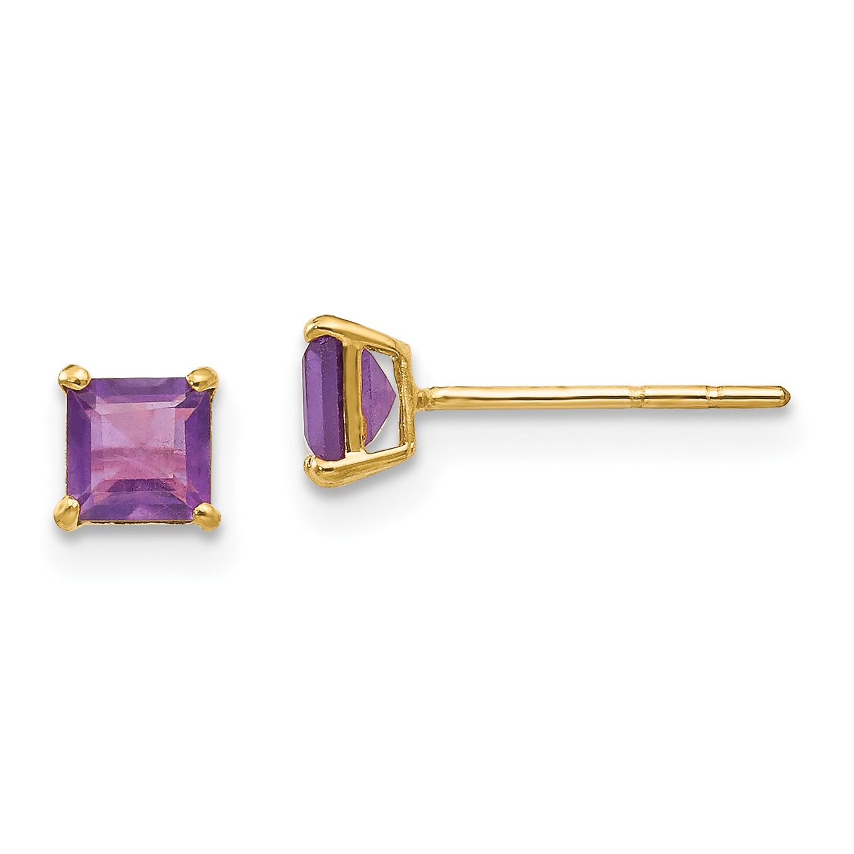 14k White Gold Square Amethyst Stud Earrings