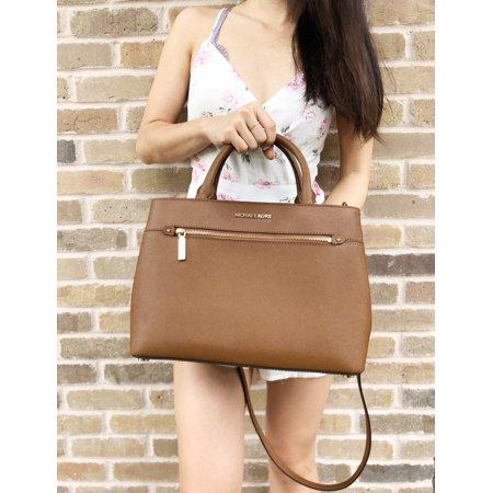Michael Kors Hailee Medium Leather Satchel Bag Luggage Brown