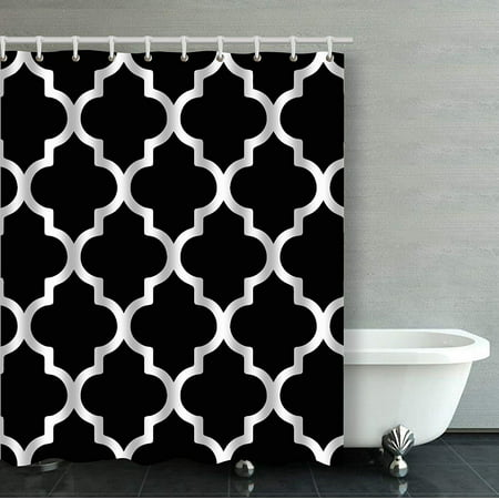 Artjia Moroccan Quatrefoil Black And White Bathroom Shower Curtain