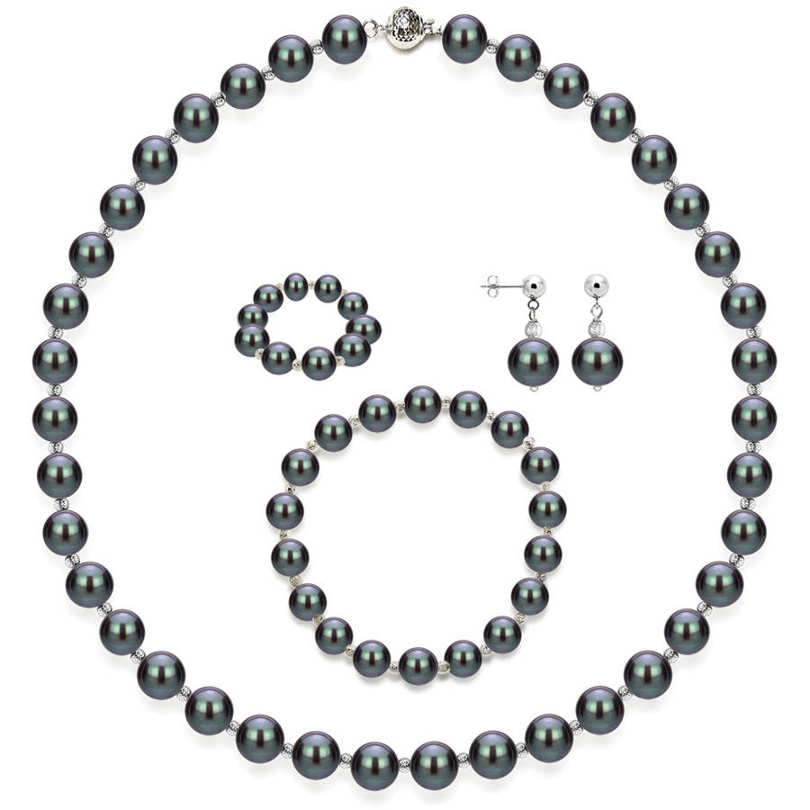 """Image of 4-Piece Set with Black Freshwater Pearl Necklace Sterling Silver Chain 18"""" with Ball Clasp, Matching Stretch Bracelet, Matching Earring, & Matching Stretch Ring, 10mm x 11mm, Silver Beaded"""
