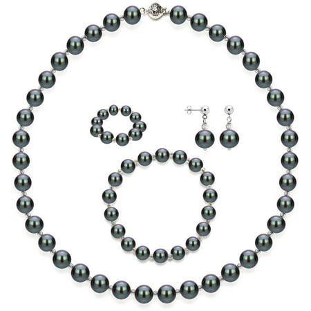 "Image of 4-Piece Set with Black Freshwater Pearl Necklace Sterling Silver Chain 18"" with Ball Clasp, Matching Stretch Bracelet, Matching Earring, & Matching Stretch Ring, 10mm x 11mm, Silver Beaded"