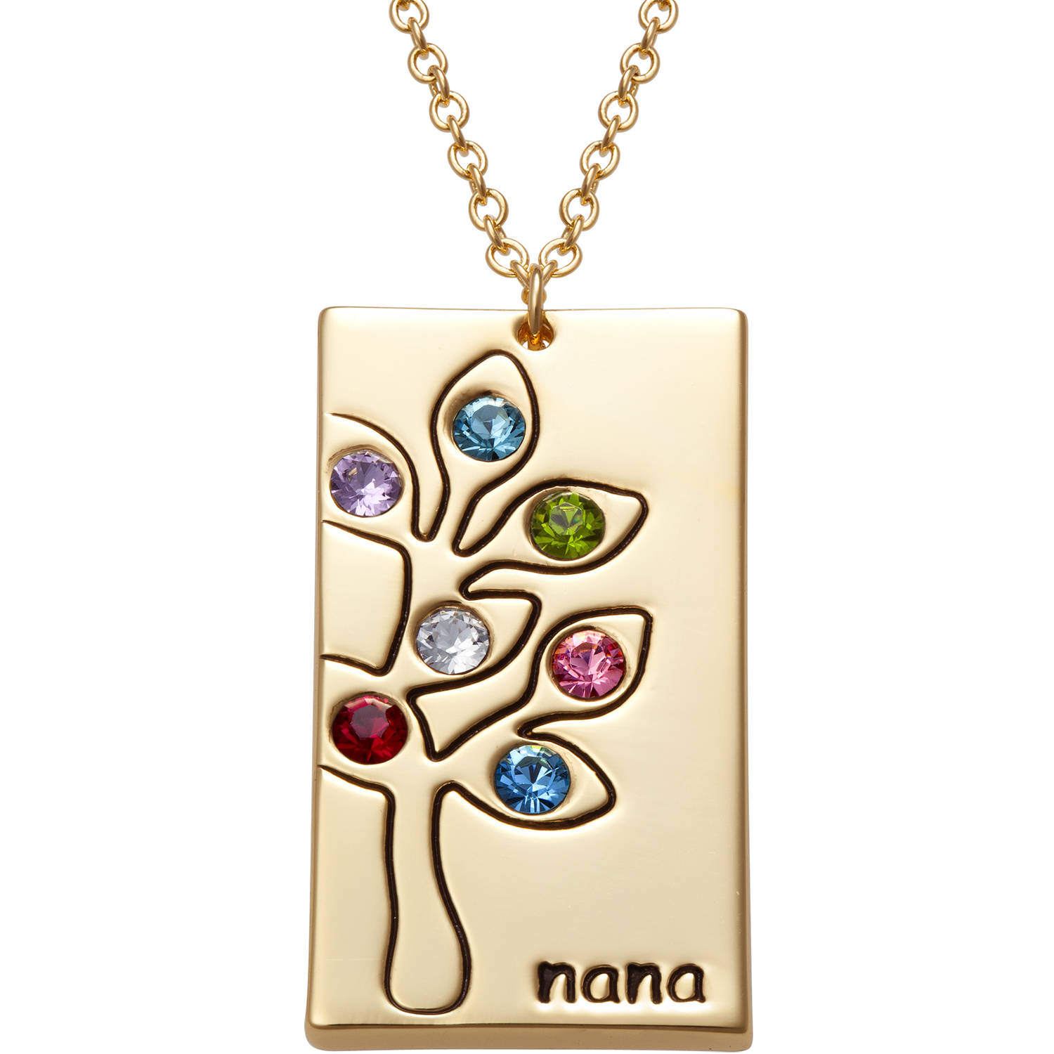 Family Jewelry Personalized Gold-Plated Birthstone Family Tree Nana Necklace
