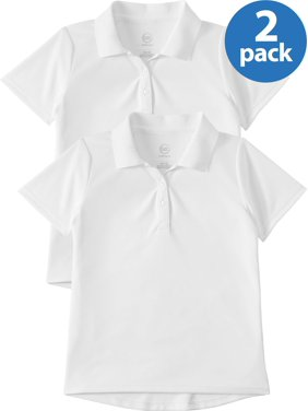 Wonder Nation Girls 4-18 School Uniform Short Sleeve Performance Polo Shirt, 2-Pack Value Bundle