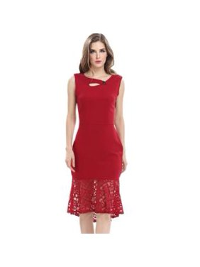 13fbc84a43961 Product Image Unomatch Women Mermaid Style Sleeveless Bodycon Dress Red