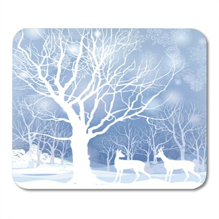 KDAGR Blue Wonderland Snow Winter Landscape Two Deers Abstract of Forest Mousepad Mouse Pad Mouse Mat 9x10 inch - Winter Wonderland Blue