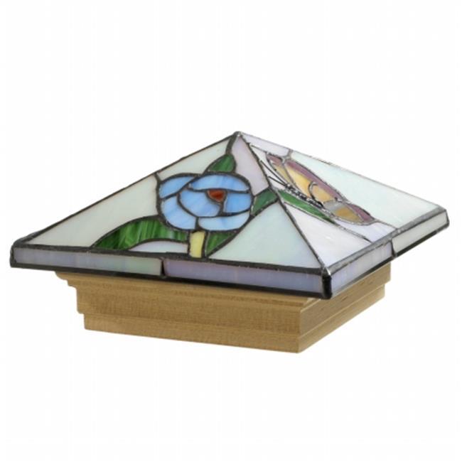 Outdoor Essentials 107893 4x4 Stylish Glass Butterfly Garden Post Cap