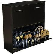 Shoe Cabinet, Double, Black