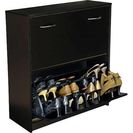 Shoe Cabinet, Double, Black ()