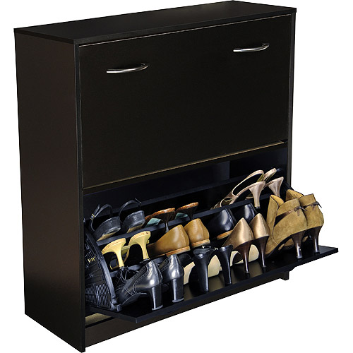 Shoe Cabinet, Double, Black