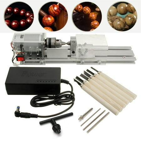Mini Lathe Beads Machine Woodworking DIY Lathe Standard with Power DC 24V-36V
