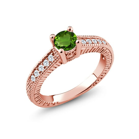 0.65 Ct Green Chrome Diopside G/H Lab Grown Diamond 18K Rose Gold Plated Silver Ring
