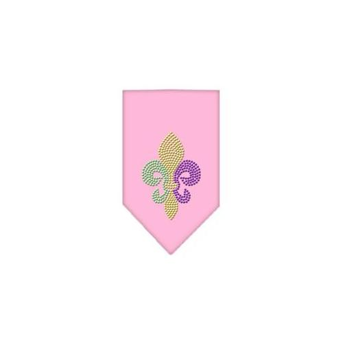 Image of Mirage 67-85 LGLPK Mardi Gras Fleur de Lis Rhinestone Pet Bandana Light Pink Lg