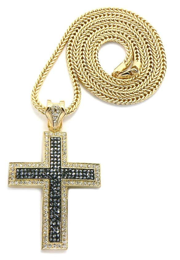 Black NYFASHION101 Iced Out Crucifixion Cross Pendant 4mm 36 Franco Chain Necklace