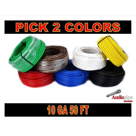 10 GA GAUGE 50 FT ROLLS PRIMARY AUTO REMOTE POWER GROUND WIRE CABLE (2 COLORS)