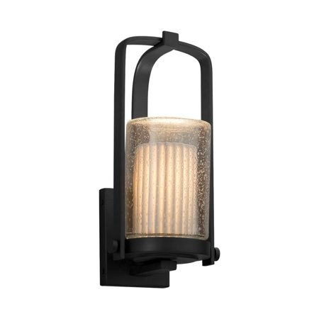 Justice Design  Group Limoges Atlantic Matte Black Outdoor Wall Sconce, Small Cylinder - Flat Rim Shade, Small Pleats Shade