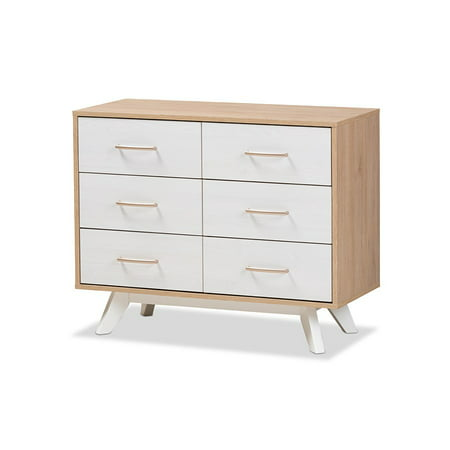 Baxton Studio Helena Modern Natural and Whitewashed 6-Drawer Dresser