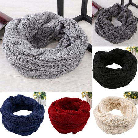 Reversible Neck Warmer (Ladies Women Winter Knitted Crochet Long Snood Tube Scarf Shawl Neck Warmer Gift )
