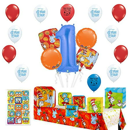 Dr. Seuss Happy First Birthday Party Supply and Balloon Bundle