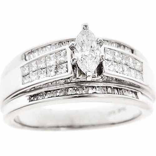 1-Carat T.W. Baguette, Princess and Marquis White Diamond 14-Carat White Gold Engagement Ring, Size 7