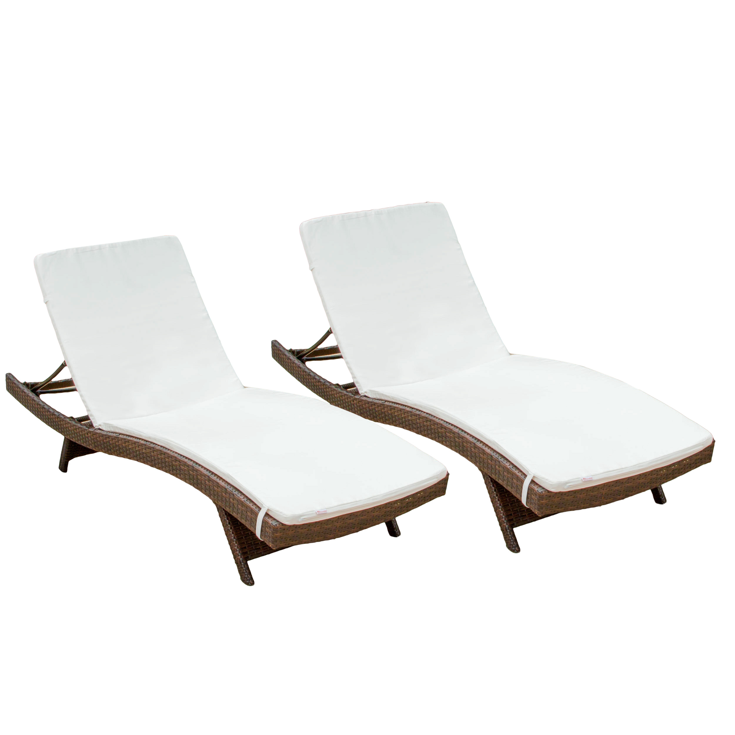Outdoor Brown Wicker Adjustable Chaise Lounge with Cushions (Set of 2) by GDF Studio
