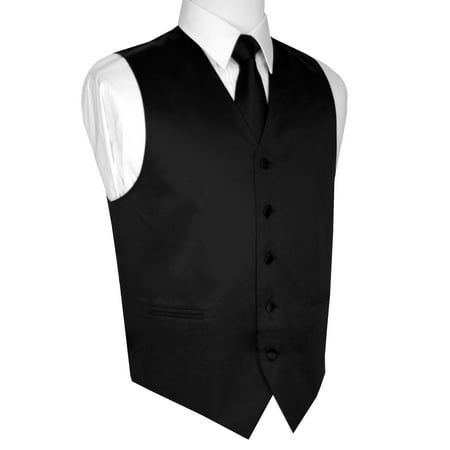 Mens Black Italian (Italian Design, Men's Tuxedo Vest, Tie & Hankie Set -)