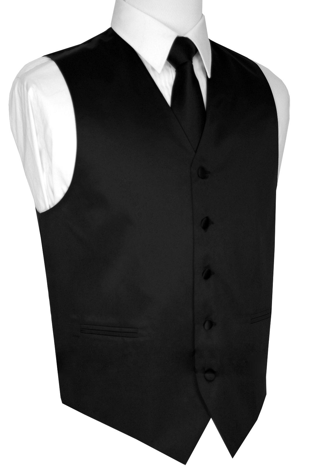 Italian Design, Men's Tuxedo Vest, Tie & Hankie Set - Black