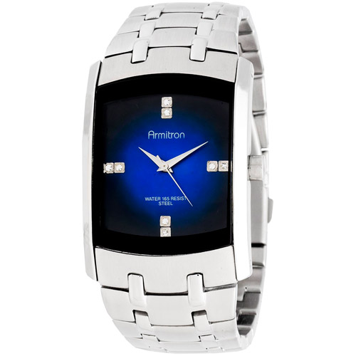 Armitron Men's Swarovski Crystal-Accented Silver-Tone Blue-Degrade Dial Dress Watch