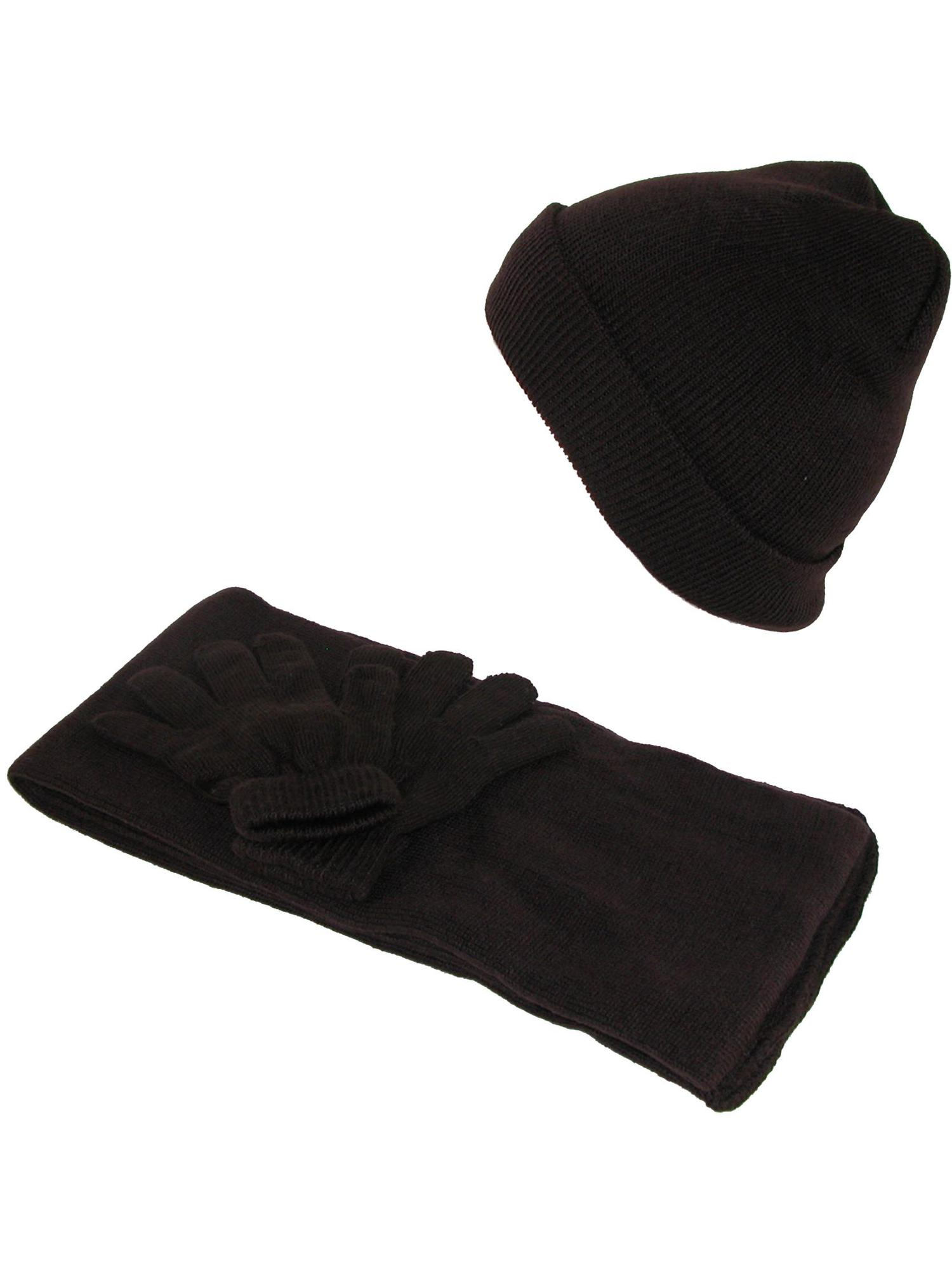 Size one size Kids' Stretch Hat Gloves and Scarf Winter Set, Black