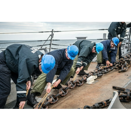 LAMINATED POSTER Sailors attached to USS Donald Cook (DDG 75) pull the anchor chain as they rig the forecastle to pe Poster Print 24 x 36