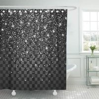 PKNMT Sparkling Festive of Falling Shiny Particles and Stars Confetti Holiday Tinsel Bathroom Shower Curtains 60x72 inch