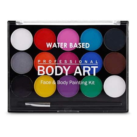 Face Paint Kit Professional Water Based Body Paint 15 Colors Washable Non-Toxic Paints 1 Paintbrush for Kid Sensitive Skin Costume Makeup Party Supplies - image 1 of 5