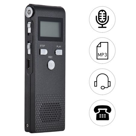 Professional Voice Audio Telephone Recorder Dictaphone 8GB MP3 Music Player Sound Active 384Kbps Supports Multi-language for Business Meeting Concert Lectures Professional Multi Format Player
