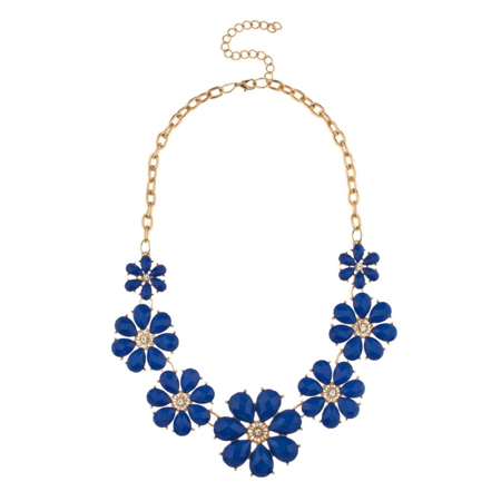 Lux Accessories Royal Blue Pave Flower Bib Statement Floral Chain Necklace