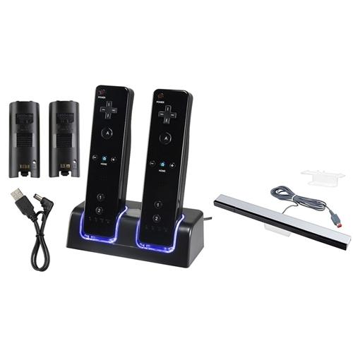 Nintendo Wii / Wii U Black Remote Control Dual Charging Station + Wired Sensor Bar by Insten