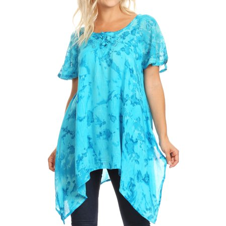 Sakkas Kiara Womens Asymmetrical Marble Dye Summer Top Blouse Short Sleeve Lace - Turquoise - One Size Regular - Turquoise Lace