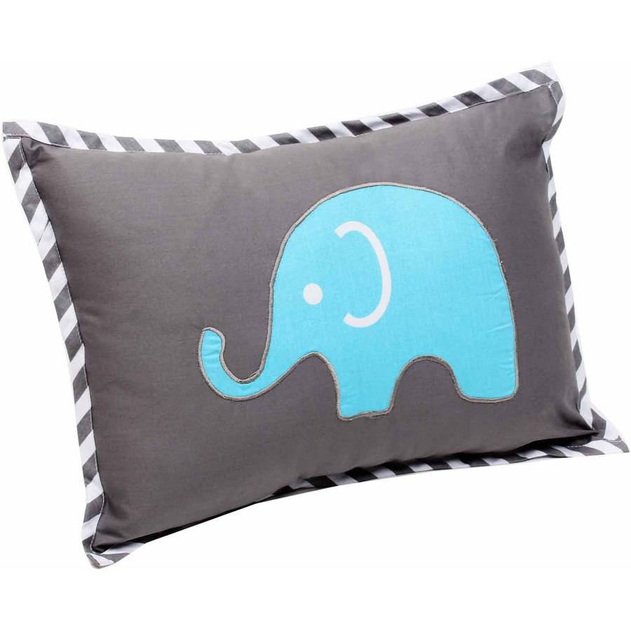 "Bacati Elephants Aqua/Lime/Grey Pillow 12""x16"" with removable 100% Cotton cover and polyfilled pillow insert"