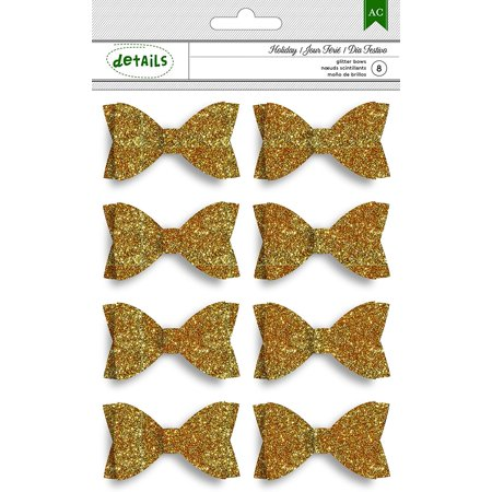 American Crafts 8 Piece Christmas Glitter Bows, Gold - 4-Pack