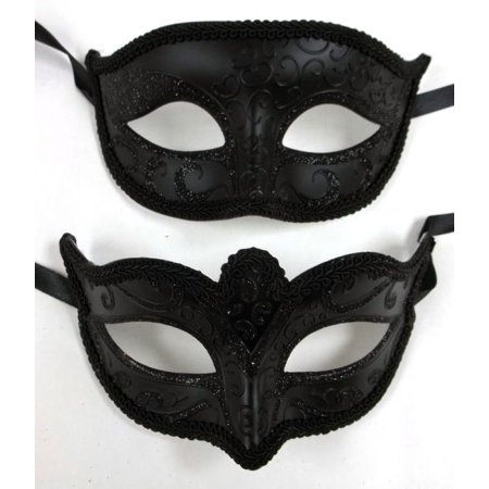 Basic Black His Hers Men Woman Venetian Mask Masquerade Couple Masks Set - Man Masquerade Masks