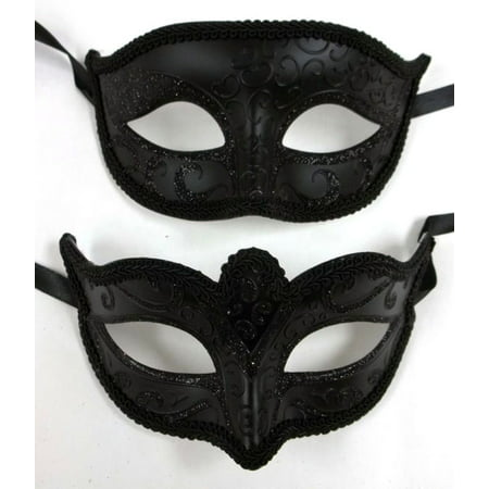 Basic Black His Hers Men Woman Venetian Mask Masquerade Couple Masks Set (Masquerade Masks On A Stick Wholesale)