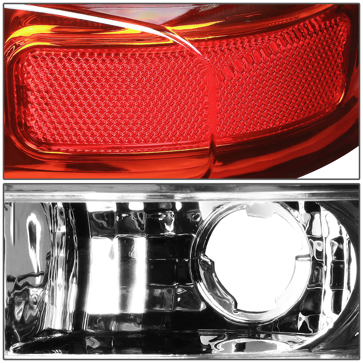 FOR 00-06 DENALI//SUBURBAN//TAHOE CHROME RED LENS HOUSING 3D LED BRAKE TAIL LIGHTS