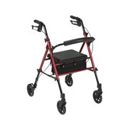 "Drive Medical Adjustable Height Rollator Rolling Walker with 6"" Wheels, Red"