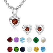 Molly and Emma Sterling Silver Children's Birthstone Heart Jewelry Set May/Emerald