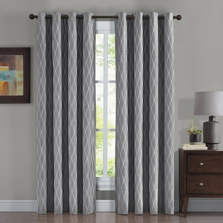 Pair Victoria 100% Blackout Curtain Panels Jacquard Thermal Insulated ( Set Of 2)- 108X84 - Gray ()