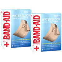 (2 pack) Band Aid Brand First Aid Waterproof Pads, 2.9 in by 4 in, 6 ct